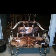 Cowhide and Horn bench
