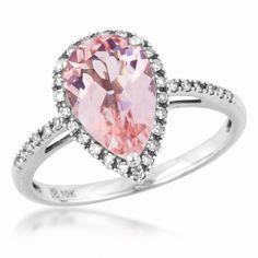Ladies Morganite and Diamond Ring in White Gold | Gemstones | Jewelry