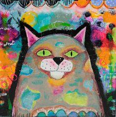 Original Cat Art  Acrylic Paint - Sold