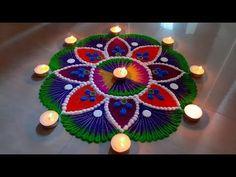 Big and colorful diwali special rangoli design Diwali Special Rangoli Design, Rangoli Designs Diwali, Diwali Rangoli, Festival Rangoli, Indian Rangoli, Muggulu Design, Flower Rangoli, Simple Rangoli, Unique Flowers