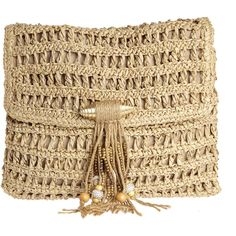 SKEMO Gypsy Bead Adorned Straw Clutch ($159) ❤ liked on Polyvore featuring bags, handbags, clutches, purses, gold, straw hand bags, bohemian purses, beige clutches, beaded clutches and boho purses