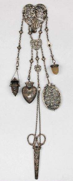 ENGLISH STERLING SILVER SEWING CHATELAINE, BIRMINGHAM, 1889