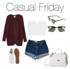 """""""Casual friday"""" by iadorecats ❤ liked on Polyvore featuring Monki, River Island, Vans, Dolce&Gabbana and Ray-Ban"""