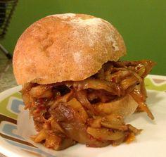 Vegan Pulled Pork Sandwich (made using oyster mushrooms, not fake meat)