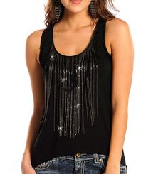 Rock & Roll Cowgirl S M Womens Black CHAIN Fringe Sleeveless Hi Low Top Shirt in Clothing, Shoes & Accessories, Women's Clothing, Tops & Blouses | eBay