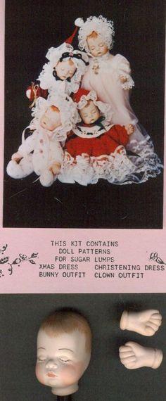 """7""""VINTAGE PORCELAIN/BISQUE BABY DOLL CLOTH BODY&DRESS&HAT/CLOWN SUIT PATTERN/KIT in Dolls & Bears, Dolls, Doll Making & Repair 
