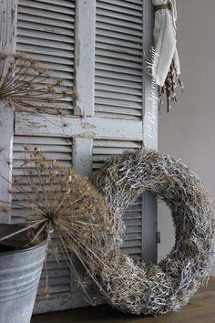 wreath krans corona kranz dry bush stoer sober landelijk Blomkje en Wenje