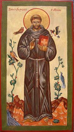 photo Saint François Religious Pictures, Religious Icons, Religious Art, Catholic Art, Catholic Saints, Patron Saints, Clare Of Assisi, Medieval Drawings, Patron Saint Of Animals