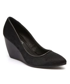 Another great find on #zulily! Black Bond Leather Wedge by Kenneth Cole Reaction #zulilyfinds