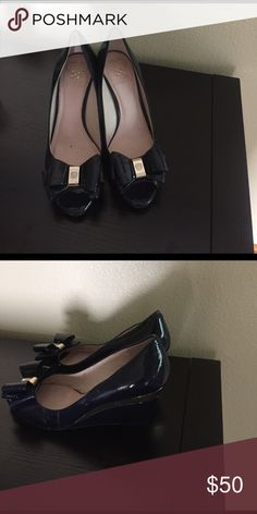 Shoe Nice navy blue with gold trim peep toe shoe Vince Camuto Shoes Wedges