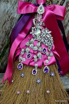 Fuschia and purple wedding broom  made to order wedding by Noaki, $115.00