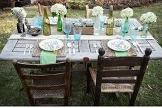 Love this idea.....easy with old doors, sawhorses, and some old chairs