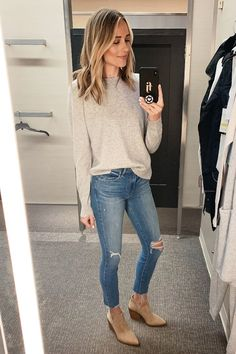 Fashion Jackson Wearing Nordstrom Annivesary Sale Vince Grey Cashmere Sweater Paige Ripped Skinny Jeans Vince Camuto Tan Booties Source by outfits Fashion Mode, Look Fashion, Autumn Fashion, Md Fashion, Womens Fashion, Fashion Black, Fashion Games, Grunge Fashion, Fashion 2018