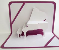 GREETING Card GRAND PIANO 3D Pop Up Origamic by BoldFolds on Etsy, $15.00