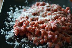 Spatzle con barbabietola rossa