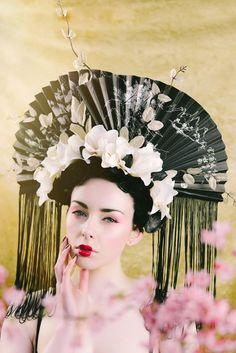 Japanese Geisha Inspired 'Yūzuru' Floral Fan by livfreecreations, £195.00