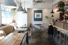 cafe - light and airy. hanging plants, timber tables