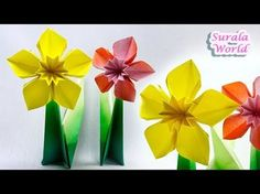 Origami - Daffodil, Narcissus (Paper Flower) - YouTube