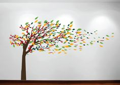 leaf stencils for walls | the first picture all gloss finish trunk brown leafs golden yellow ...