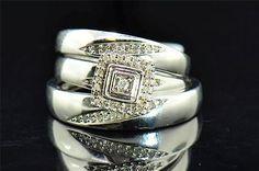 Diamond Trio Set His & Hers Matching Anillo de compromiso de boda de oro blanco 10K
