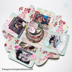 This is Inside View of explosion box with Shabby Chic Design Theme and featuring Round Cake in the middle
