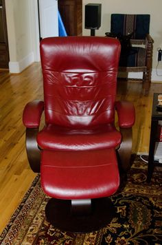 """Tim's chair; has to face TV;  Looks more burgundy than this picture which looks cherry 3'3"""" High; can I use it next to club chair"""