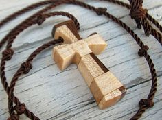 Wooden Cross Necklace  Maple & Walnut Hardwoods  by TheLotusShop, $16.95