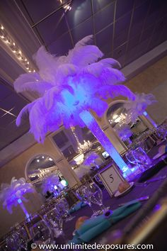 White feather centerpieces with blue uplighting. Photo taken by Unlimited Exposures, for more info go to http://www.unlimitedexposures.com