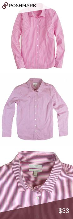 "JCREW Pink Stretch Perfect Shirt in Classic Stripe Excellent condition! This pink and white stretch perfect shirt in classic stripe from JCREW features button closures. Official color name is vibrant fuchsia. Made of a cotton blend. Measures: Bust: 37"", total length: 27"", sleeves: 26@ J. Crew Tops Button Down Shirts"