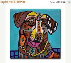 50% Off- Chesapeake Bay Retriever art Tile Ceramic Coaster Mexican Folk Art Print of painting by Heather Galler dog