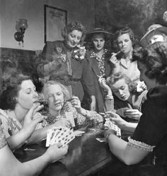 """in the June 16, 1941, issue of LIFE magazine, """"members of the Young Women's Republican Club of Milford, Conn, explored the pleasures of tobacco, poker, the strip tease and such other masculine enjoyments as had frequently cost them the evening companionship of husbands, sons and brothers.""""Thus the storied weekly and photographer Nina Leen chronicled the shenanigans that erupted when a group of GOP women got together for an old-fashioned """"smoker"""" (noun: an informal social gathering for men…"""