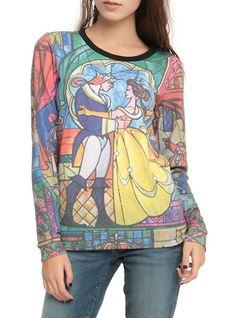 Disney Beauty And The Beast Stained Glass Girls Pullover Top, BLACK