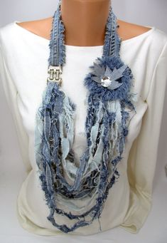 Pin by StyleByVeronica on Denim jewelry Scarf Necklace, Fabric Necklace, Scarf Jewelry, Fabric Jewelry, Jewelry Necklaces, Denim Bracelet, Denim Earrings, Flores Denim, New Mode