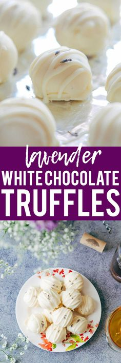 Lavender white chocolate truffles are fragrant, creamy, elegant white chocolate bites that are perfect for the holidays! Use them to serve as mini desserts, or for Christmas gifting. Perfect for thanksgiving, hanukkah, christmas and New Years!