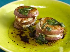 Grilled Potato and Goat Cheese Napoleon with Balsamic-Basil Vinaigrette recipe from Bobby Flay via Food Network