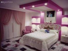 Yatak Odası, Aydınlatma, Pembe, Perde, Asma tavan