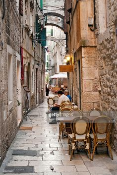 Stone alleyways and restaurants in the Old Town in the city of Split.