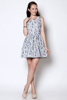 Wisteria — Karin Floral Printed Dress Blue