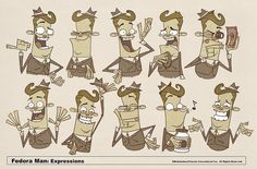 Fedora Man Expressions by Fred Seibert, via Flickr
