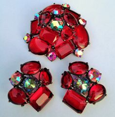 HUGE RED SCHIAPARELLI BROOCH, NOW WITH THE MATCHING EARRINGS! LOVE! OWN!