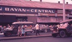Central Market, Quezon Boulevard, Manila. 1962 Philippines Culture, Manila Philippines, Jose Rizal, Jeepney, Filipiniana, Custom Jeep, Pinoy, Vintage Pictures, Public Transport