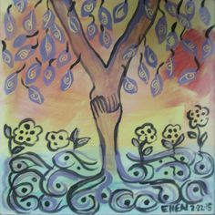 Hand holding motif, A.The preservation of sign language on Veditz's dream tree with growing eye leaves.. hands upward to the sky and downward to the earth along with planted seeds with eyes for deaf babies s rights to have ASL. Similiar idea from my painting 30 x 40 The Veditz's dream tree, 2013.