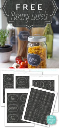 Included is a set of Gluten Free Labels and matching Spice Jar Labels by lia. Pantry Organization Labels, Pantry Labels, Organization Hacks, Canning Labels, Pantry Ideas, Canning Recipes, Pantry Storage, Food Storage, Baking Organization