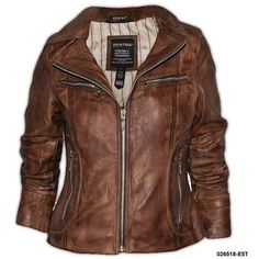 A brown leather jacket found on Polyvore
