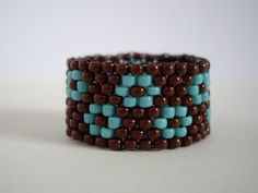 Peyote ring, Turquoize and chocolate brown ring, Woven ring, Seed bead ring, Beaded ring, Beadwork ring, Size US 8.5