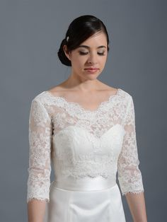 V-neck Alencon Lace Bridal Bolero Wedding jacket shrug WJ004