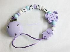 Schnullerkette Eule Schmetterling Name Baby md154 von myduttel auf DaWanda.com