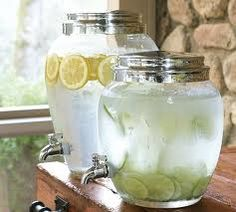 Water with fruit in jugs