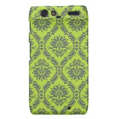 lime green royal damask pattern droid razr cover