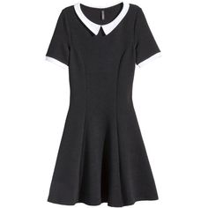 H&M Dress with a collar (30 CAD) ❤ liked on Polyvore featuring dresses, black, skater skirt, collar dress, black dress, short sleeve black dress and black skater skirt
